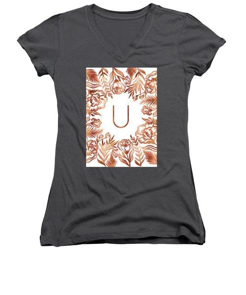 Letter U - Rose Gold Glitter Flowers Women's V-Neck