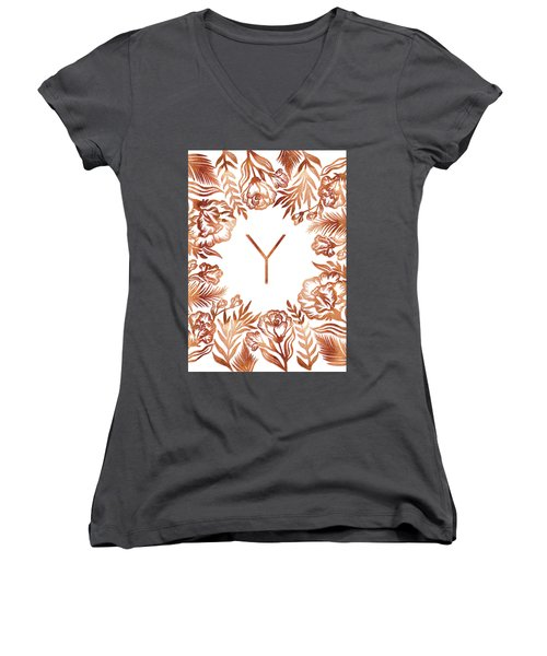 Letter Y - Rose Gold Glitter Flowers Women's V-Neck (Athletic Fit)
