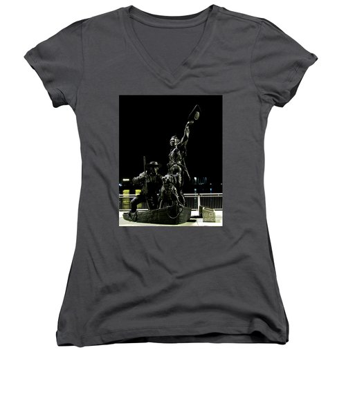 Lewis And Clark Arrive At Laclede's Landing Women's V-Neck T-Shirt (Junior Cut) by Kelly Awad