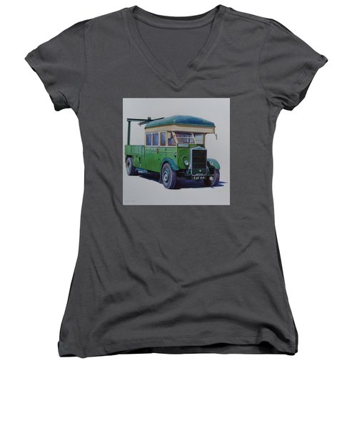 Women's V-Neck T-Shirt (Junior Cut) featuring the painting Leyland Southdown Wrecker. by Mike Jeffries