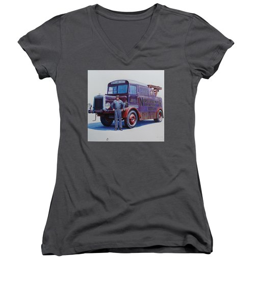 Women's V-Neck T-Shirt (Junior Cut) featuring the painting Leyland Wrecker 1930. by Mike  Jeffries