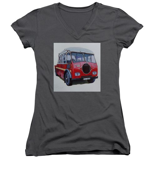 Women's V-Neck T-Shirt (Junior Cut) featuring the painting Leyland Wrecker Cie by Mike Jeffries