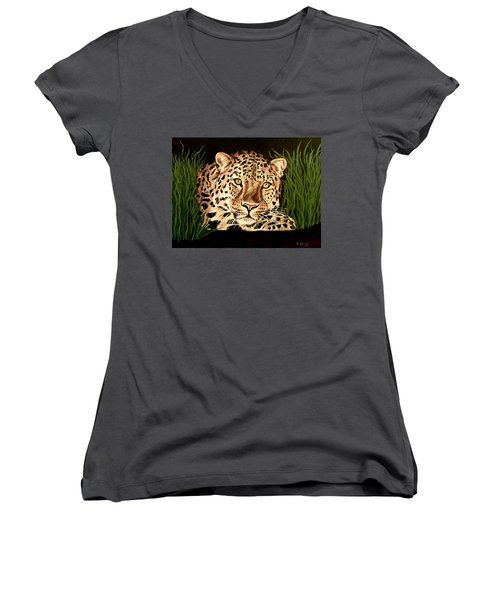 Women's V-Neck T-Shirt (Junior Cut) featuring the painting Liam by Teresa Wing