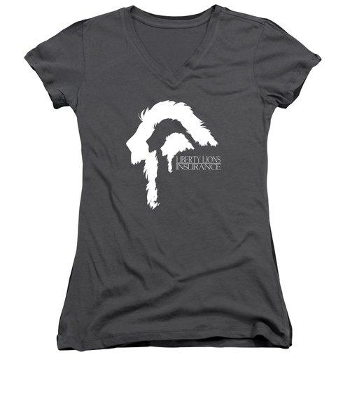 Liberty Lions Logo Women's V-Neck T-Shirt (Junior Cut) by Ryan Anderson