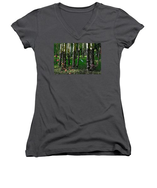 Life Among The Aspens Women's V-Neck (Athletic Fit)