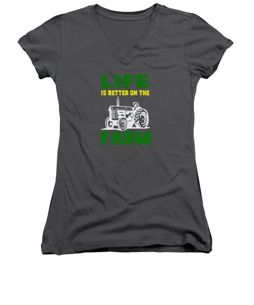 Life Is Better On The Farm Tee Women's V-Neck (Athletic Fit)