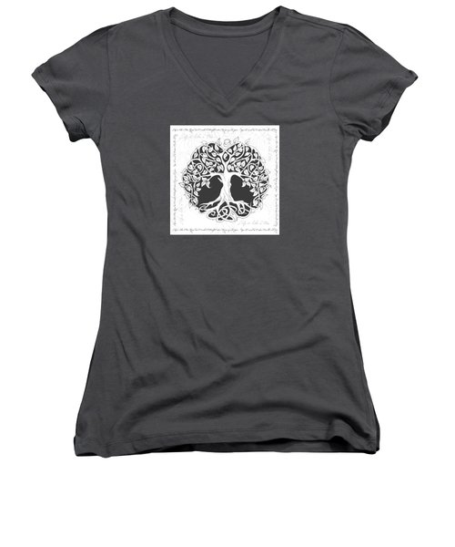 Women's V-Neck T-Shirt (Junior Cut) featuring the digital art Life Tree. Life Is Like A Tree by Gina Dsgn