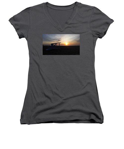 Lifeguard Stand And Sunrise Women's V-Neck T-Shirt (Junior Cut) by Robert Banach