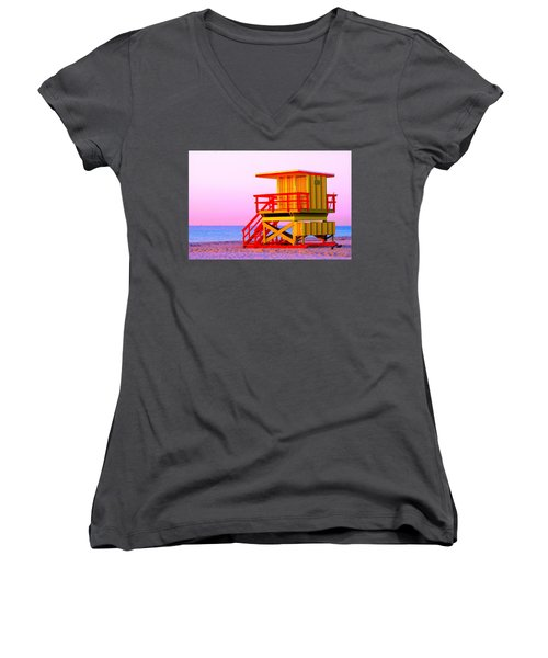 Lifeguard Stand Miami Beach Women's V-Neck