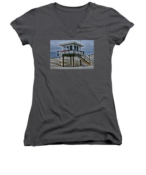 Women's V-Neck T-Shirt (Junior Cut) featuring the photograph Lifeguard Station 2  by Paul Ward