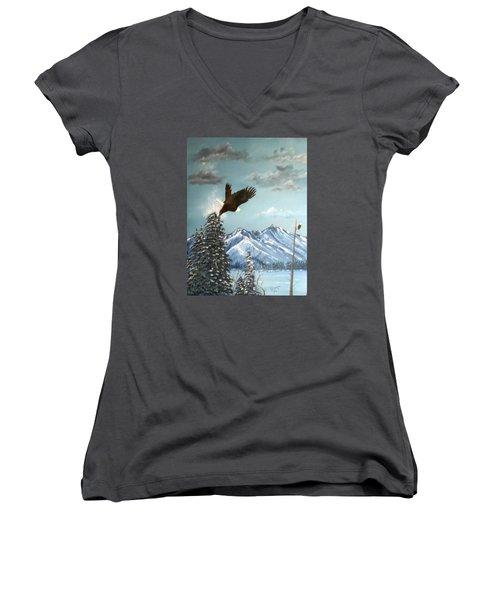 Lift Off Women's V-Neck T-Shirt (Junior Cut) by Al  Johannessen