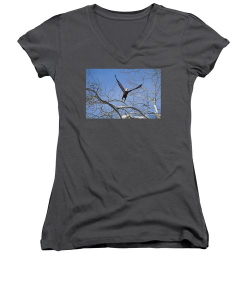 Women's V-Neck T-Shirt (Junior Cut) featuring the photograph Lift Off by Jim  Hatch