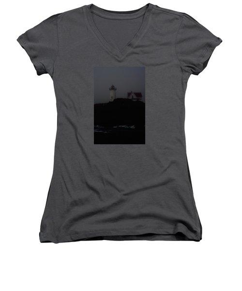 Lifting Fog Near Perkin's Cove Women's V-Neck T-Shirt