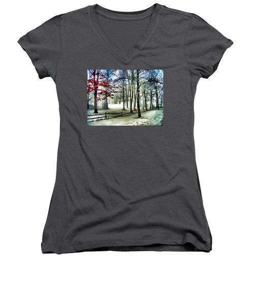 Lifting Fog Women's V-Neck T-Shirt (Junior Cut) by Betsy Zimmerli