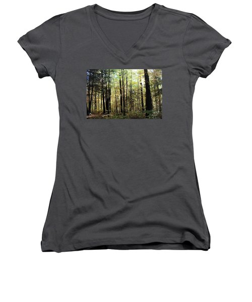Women's V-Neck T-Shirt (Junior Cut) featuring the photograph Light Among The Trees by Felipe Adan Lerma