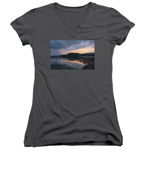 Light And Dark Women's V-Neck T-Shirt (Junior Cut) by Angelo Marcialis