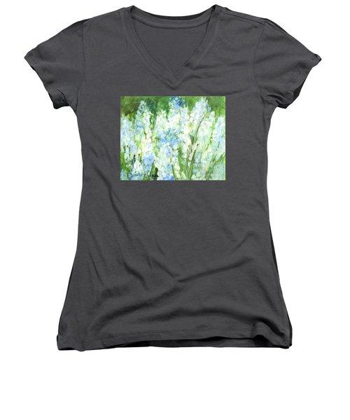 Light Blue Grape Hyacinth. Women's V-Neck T-Shirt (Junior Cut) by Laurie Rohner