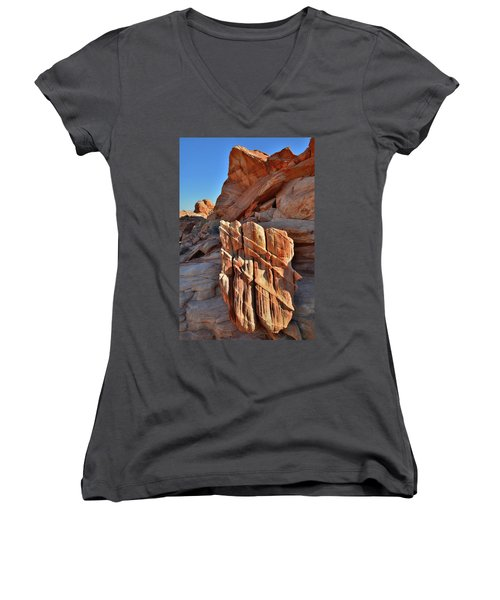 Light Creeps In At Valley Of Fire State Park Women's V-Neck