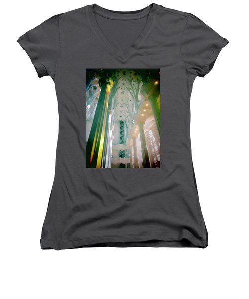Women's V-Neck T-Shirt (Junior Cut) featuring the photograph Light Dancing On The Ceiling by Christin Brodie