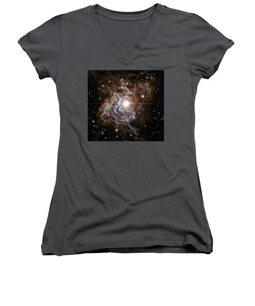 Women's V-Neck T-Shirt (Junior Cut) featuring the photograph Light Echoes by Marco Oliveira
