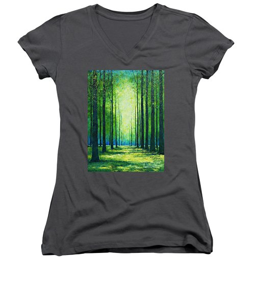Light From Green Women's V-Neck (Athletic Fit)