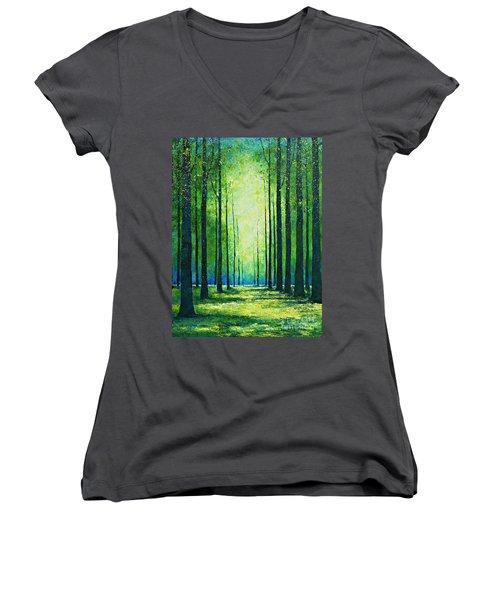 Light From Green Women's V-Neck T-Shirt