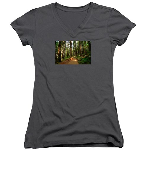 Women's V-Neck T-Shirt (Junior Cut) featuring the photograph Light In The Forest by Lynn Hopwood