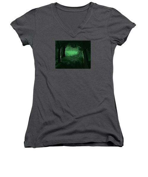 Light In The Forest Women's V-Neck T-Shirt (Junior Cut) by Walter Chamberlain
