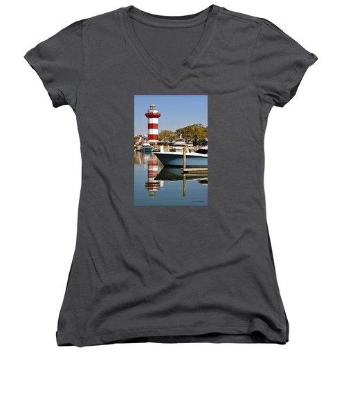 Light In The Harbor Women's V-Neck T-Shirt (Junior Cut) by Kay Lovingood