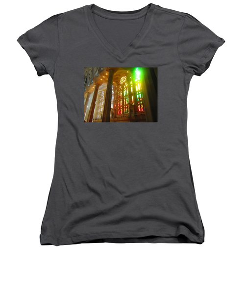 Women's V-Neck T-Shirt (Junior Cut) featuring the photograph Light Of Gaudi by Christin Brodie