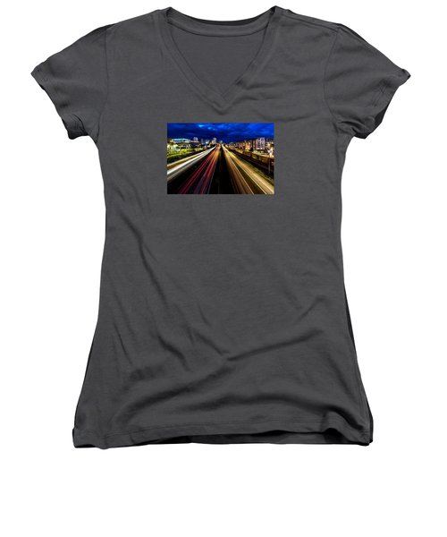 Light Streaks On 705 Women's V-Neck