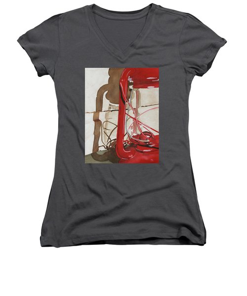 Women's V-Neck T-Shirt (Junior Cut) featuring the painting Light The Way by Cynthia Powell