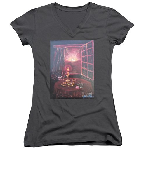 Women's V-Neck T-Shirt (Junior Cut) featuring the painting Light The Yes Candle by Sigrid Tune