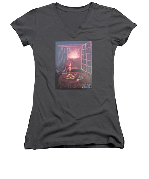 Flying Lamb Productions      Light The Yes Candle Women's V-Neck (Athletic Fit)