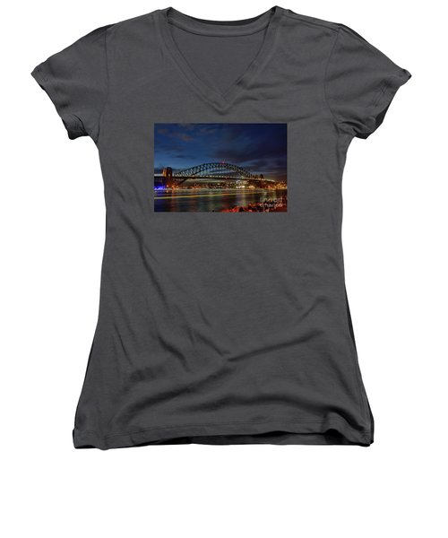 Women's V-Neck T-Shirt featuring the photograph Light Trails On The Harbor By Kaye Menner by Kaye Menner