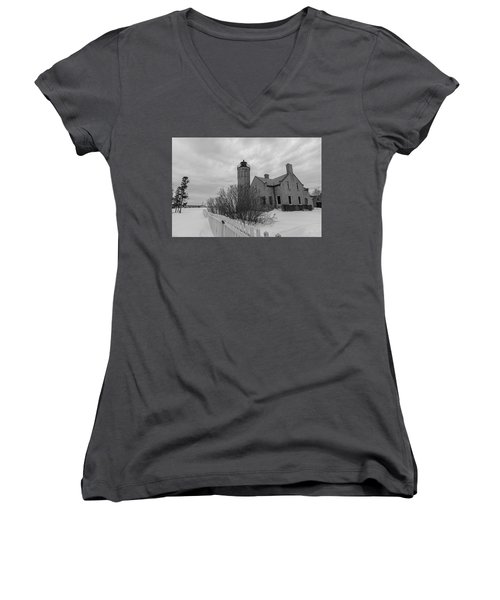 Women's V-Neck T-Shirt (Junior Cut) featuring the photograph Lighthouse And Mackinac Bridge Winter Black And White  by John McGraw