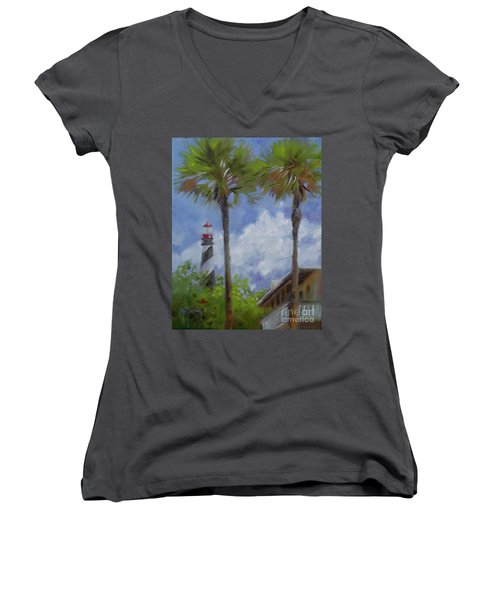 Lighthouse And Palms Women's V-Neck T-Shirt (Junior Cut) by Mary Hubley