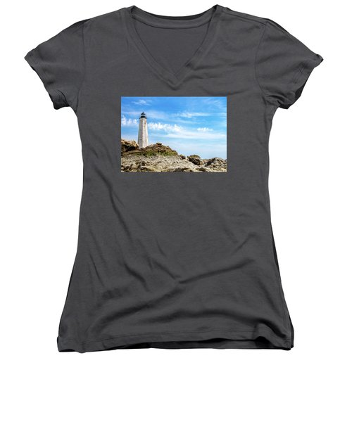 Lighthouse And Rocks Women's V-Neck (Athletic Fit)