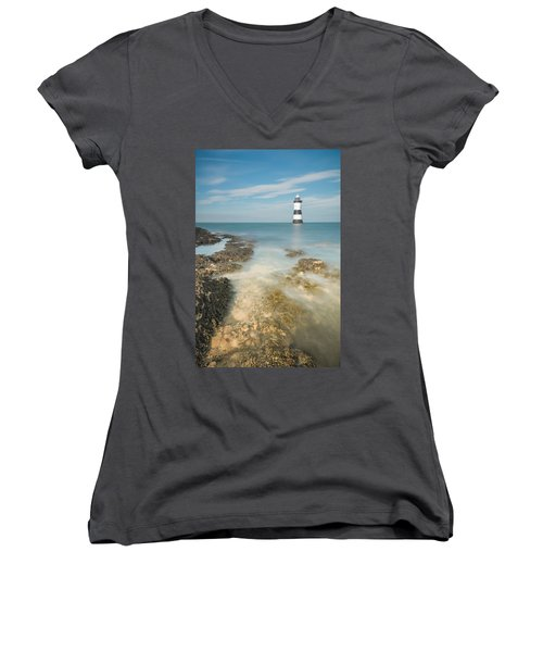 Lighthouse At Penmon Women's V-Neck (Athletic Fit)