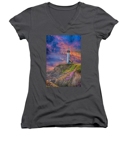 Lighthouse At Pigeon Point Women's V-Neck T-Shirt