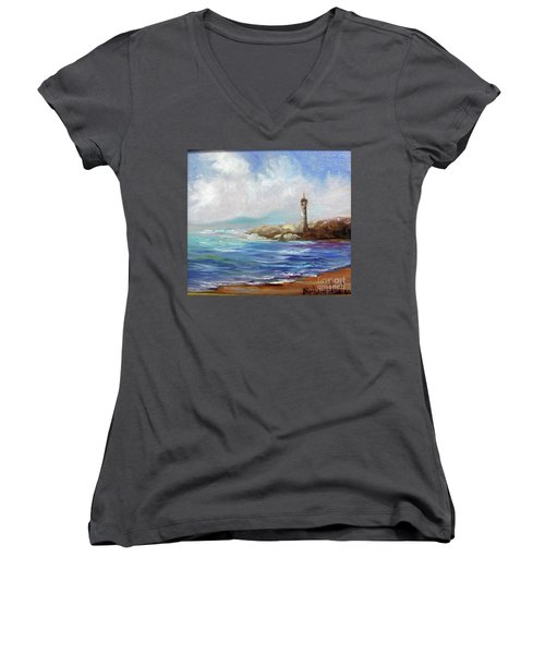 Lighthouse  Women's V-Neck T-Shirt (Junior Cut)