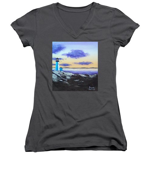 Lighthouse Women's V-Neck T-Shirt (Junior Cut) by Brenda Bonfield