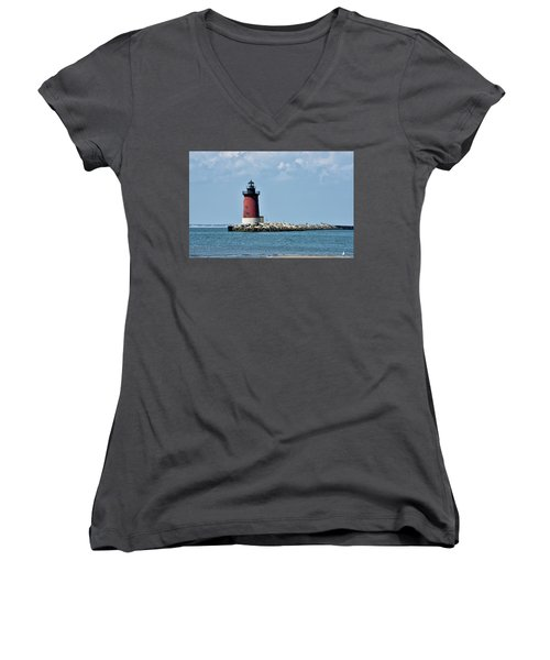 Women's V-Neck T-Shirt (Junior Cut) featuring the photograph Delaware Breakwater East End Lighthouse - Lewes Delaware by Brendan Reals