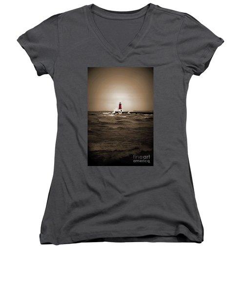 Lighthouse Glow Sepia Spot Color Women's V-Neck