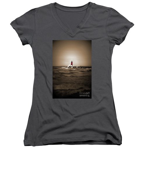 Lighthouse Glow Sepia Spot Color Women's V-Neck