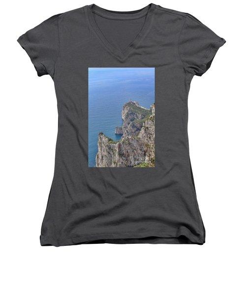 Lighthouse On The Cliff Women's V-Neck