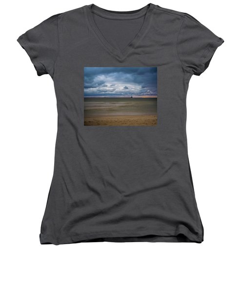 Lighthouse Under Brewing Clouds Women's V-Neck