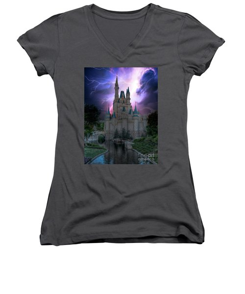 Lighting Over The Castle Women's V-Neck T-Shirt