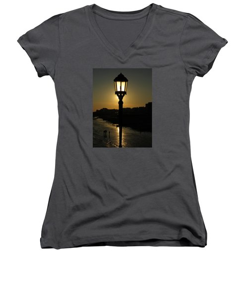 Lighting Up The Beach Women's V-Neck (Athletic Fit)
