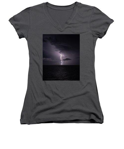 Lightning At Sea I Women's V-Neck